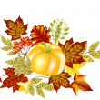 Autumn card with pumpkin and maple leafs — Imagen vectorial