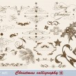 Christmas calligraphic design elements and page decoration — Stock Vector