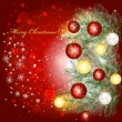 Christmas background with baubles and christmas tree branches — Imagen vectorial