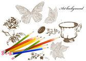 Fundo de arte com lápis e mão desenhada objetos — Vetor de Stock