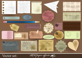 Collection of old paper objects for scrapbooking design — Stock Vector
