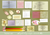 Set of vector paper objects for scrapbooking — Stock Vector