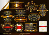 Collection of luxury gold-framed labels — Stock Vector