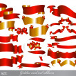 Golden and red ribbons set - Stock Vector