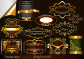 Luxury gold-framed labels — Stock Vector