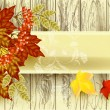 Stok Vektör: Banner with vector tree texture, old paper and autumn leafs