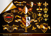 Collection of golden heraldic elements — Stock Vector