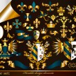 Vector de stock : Collection of gold-framed heraldic elements