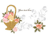 Elegant card with beige and pink roses in basket on white — Stock Vector