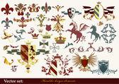 紋章デザイン プロジェクトのための紋章の要素 — ストックベクタ
