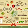 Stock Vector: Christmas design elements in vintage style