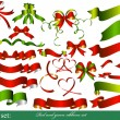 Collection of red and green ribbons for design - Stock Vector