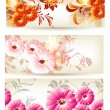 Collection of three floral cards with flowers — Stock Vector