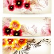 Set of three banners decorated by vector flowers — Vettoriali Stock