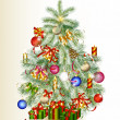 Christmas tree decorated by gifts and baubles — Vector de stock #13849562