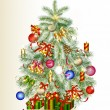 Stockvector : Christmas tree decorated by gifts and baubles