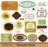 Collection of retro labels best and premium quality — Stock Vector