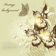 Flower vintage background with orchids and butterflies — Векторная иллюстрация