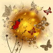 Creative flower  shiny background with butterflies - Stock Vector