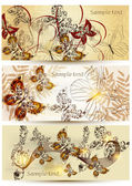 Collection of floral cards in vintage style — Stock Vector