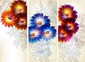 Collectie van bloem vector achtergronden — Stockvector