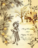 Christmas vintage card with fur tree, house in snow and little — 图库矢量图片