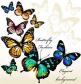 Fashion background with butterflies — Vector de stock