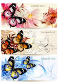 Set of floral banners with butterflies — Stock Vector
