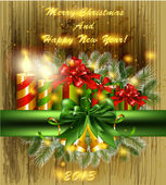 Christmas background with lights, ribbons, gifts, bells, candles — Vector de stock