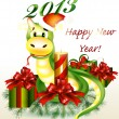 Christmas and new year card with cartoon snake symbol of year - Stock vektor
