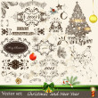 Christmas calligraphic set — Stock Vector