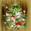 Christmas card with decorated xmas tree — Imagen vectorial