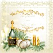 Christmas greeting and invitation card with champagne, baubles, - Stok Vektör
