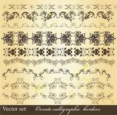 Calligraphic vintage borders set — Stock Vector