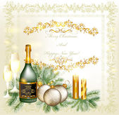 Christmas greeting and invitation card with champagne, baubles, — Stock Vector