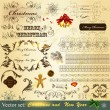 Royalty-Free Stock ベクターイメージ: Collection of Christmas calligraphic  vintage elements