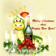 New year 2013 greeting card with symbol of year snake — Imagens vectoriais em stock