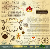 Collection of Christmas calligraphic vintage elements — Stock Vector