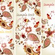 Brochure set with hand drawn vintage  floral ornament — Vettoriali Stock