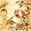 Grunge musical  vintage background with floral  hand drawn eleme — Imagens vectoriais em stock