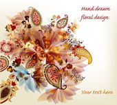 Artistic hand drawn floral vector design — ストックベクタ