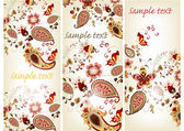 Brochure set with hand drawn vintage floral ornament — Vettoriale Stock