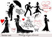 Düğün tasarım öğeleri koleksiyonu — Stok Vektör