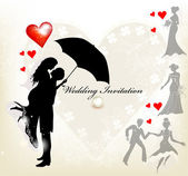 Design of wedding invitation with silhouette of cute couple and — Vettoriale Stock