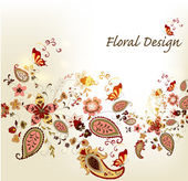 Floral stylish vector background with vintage hand drawn ornamen — Stock Vector