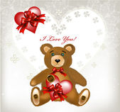 Greeting valentine card with heart, lace, toy bear and space for — Stock Vector