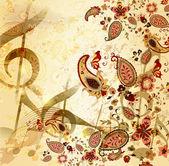 花模様の手でグランジ音楽ビンテージ背景描画元素 — ストックベクタ