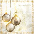 Christmas grunge greeting card with silver baubles and golden ri - Stock Vector