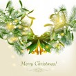 Elegant christmas card with fur branches, mistletoy and bells -  