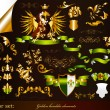 Collection of golden heraldic elements — Grafika wektorowa